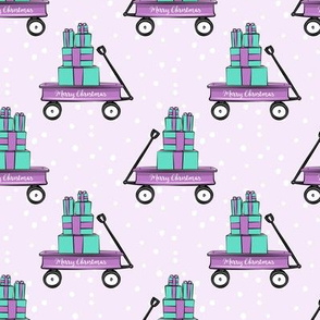 Merry Christmas wagon - purple