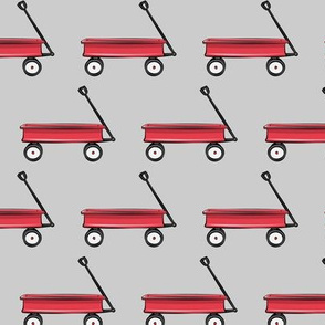 red wagon on grey