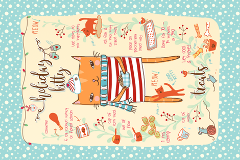 Kitty treats holiday recipe fabric by designed_by_debby on Spoonflower - custom fabric