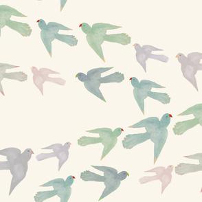 Pastel Parrots for Chiffon