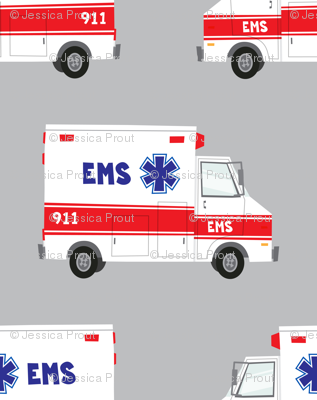 ambulance on grey