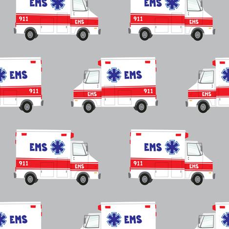 ambulance on grey fabric by littlearrowdesign on Spoonflower - custom fabric
