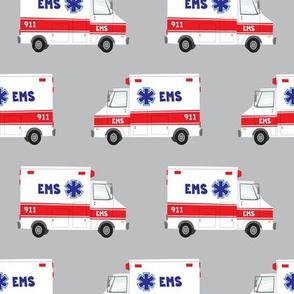 ambulance on grey