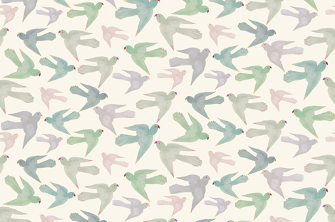 Pastel Parrots fabric by frumafar on Spoonflower - custom fabric