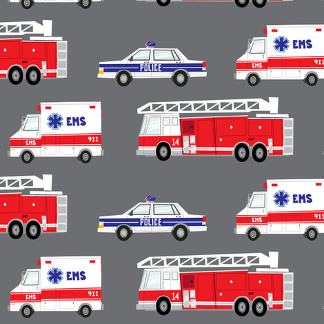 first responders vechicles (grey)  fabric by littlearrowdesign on Spoonflower - custom fabric