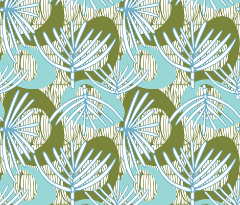 Fronds RETRO OCEAN fabric by kathyjuriss on Spoonflower - custom fabric