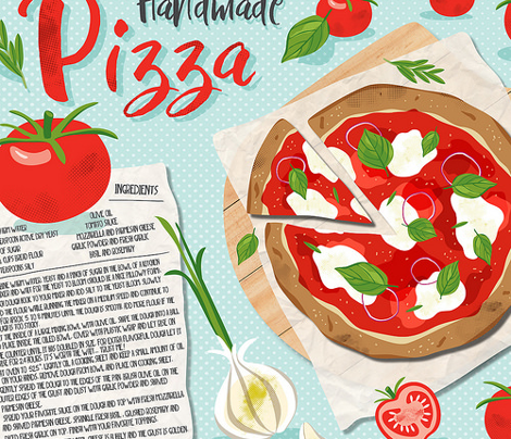 Handmade Pizza Recipe Tea Towel