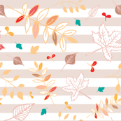 Leaves pattern with pink striped background.