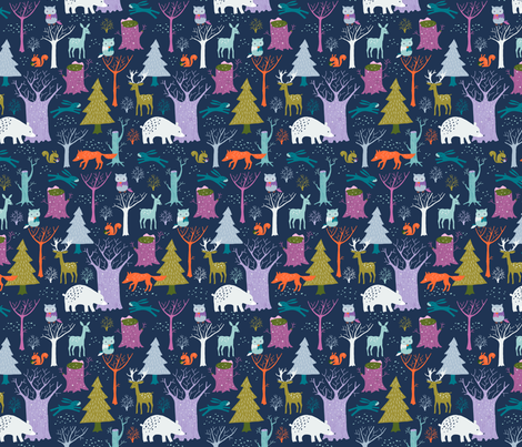 Winter woodland at night (small) fabric by heleen_vd_thillart on Spoonflower - custom fabric