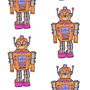 smaller size orange retro robot