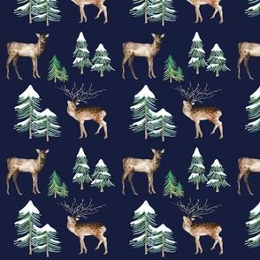 Winter Deer on Navy