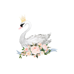 """25"""" Swan with Roses / 2 Yards"""