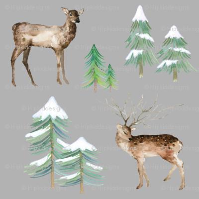 Winter Deer on Gray