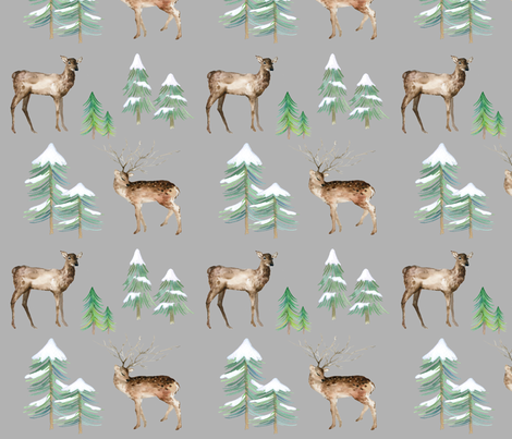 Winter Deer on Gray fabric by hipkiddesigns on Spoonflower - custom fabric
