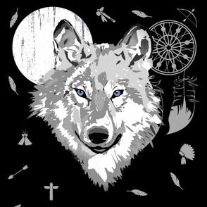 "42""x72"" Boys Boho Wolf / Black / White Moon"