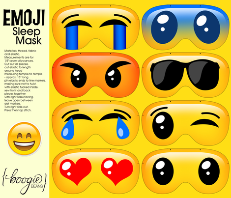 emoji sleep masks fabric by kfay on Spoonflower - custom fabric