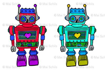 plush robot, pink-blue