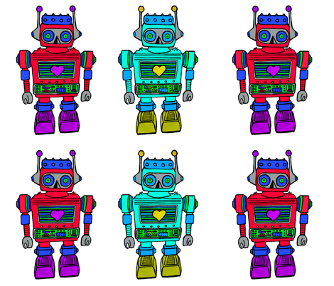 plush robot, pink-blue fabric by andmonstertoys on Spoonflower - custom fabric