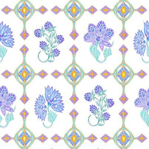 Fantasy Flowers in Blue
