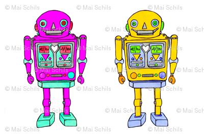 large plush robots, yellow-ink