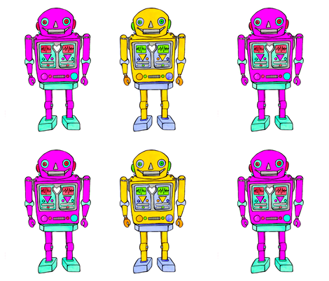 large plush robots, yellow-ink fabric by andmonstertoys on Spoonflower - custom fabric