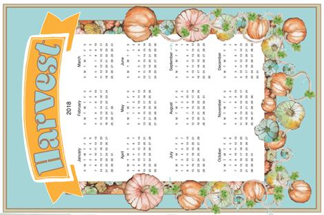 Pumpkin Harvest Tea Towel  fabric by edithschmidtartllc on Spoonflower - custom fabric