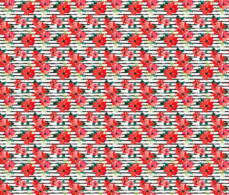 Poinsettia-Stripe_Small fabric by crystal_walen on Spoonflower - custom fabric