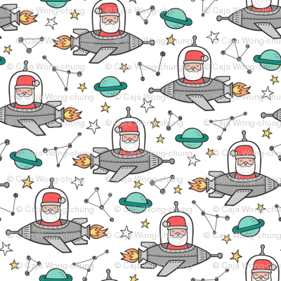 Christmas Santa Claus in Space Rockets, Planets & Constellations on White