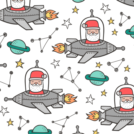 Christmas Santa Claus in Space Rockets, Planets & Constellations on White fabric by caja_design on Spoonflower - custom fabric