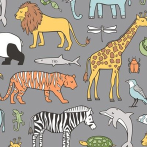 Zoo Jungle Animals Doodle with Panda, Giraffe, Lion, Tiger, Elephant, Zebra,  Birds on Dark Grey Larger Size