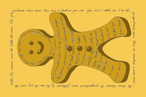 Gingerbread man Tea towel recipe fabric by zandloopster on Spoonflower - custom fabric