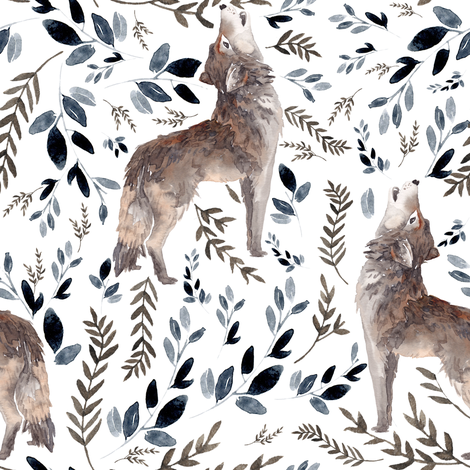 "8"" October in the Wild / Wolf / Foliage / White fabric by shopcabin on Spoonflower - custom fabric"