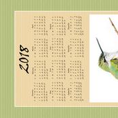 Hummingbird Calendar Tea Towel