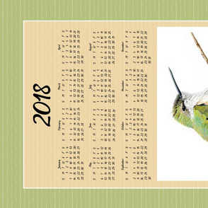 Hummingbird Calendar Tea Towel