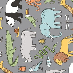 Zoo Jungle Animals Doodle with Panda, Giraffe, Lion, Tiger, Elephant, Zebra,  Birds on Dark Grey Larger Size Rotated