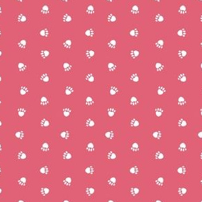 paw print fabric - pink rows