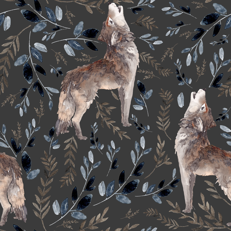 "8"" October in the Wild / Wolf / Foliage fabric by shopcabin on Spoonflower - custom fabric"