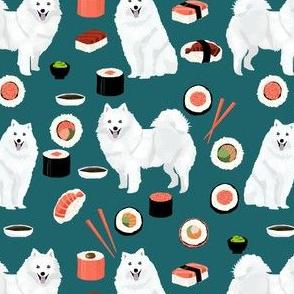 japanese spitz dog and sushi fabric - cute japanese dog - teal