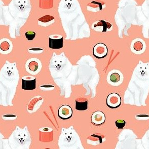 japanese spitz dog and sushi fabric - cute japanese dog - peach