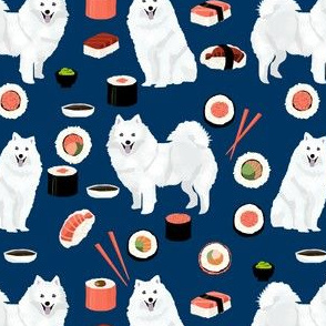 japanese spitz dog and sushi fabric - cute japanese dog - navy