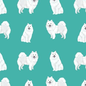 japanese spitz dog fabric cute white dog design - turquoise