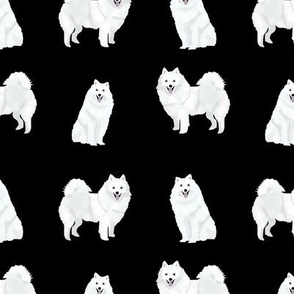 japanese spitz dog fabric cute white dog design - black