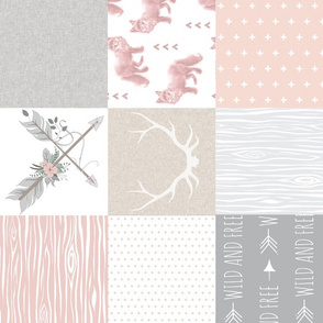 Fox and Arrows Wholecloth Quilt - blush, grey and tan - rotated