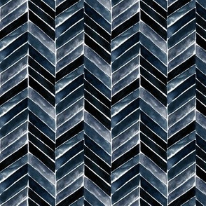 painted chevron indigo - small