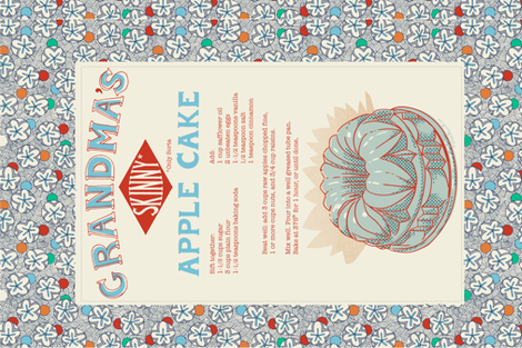 apple_cake_tea_towel_092617 fabric by paintmebright on Spoonflower - custom fabric