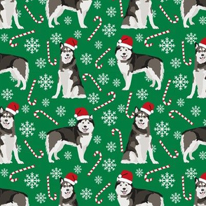 Alaskan Malamute peppermint stick candy canes winter snowflakes dog fabric green