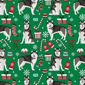 Alaskan Malamute christmas holiday presents candy canes winter snowflakes dog fabric green