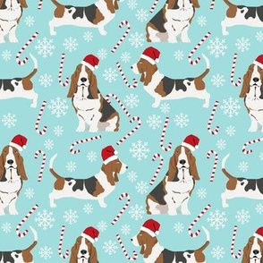 Basset Hound peppermint stick candy canes winter snowflakes dog fabric light blue