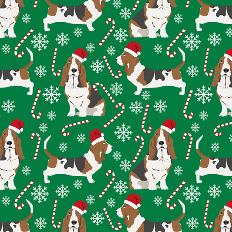 Basset Hound peppermint stick candy canes winter snowflakes dog fabric green fabric by petfriendly on Spoonflower - custom fabric