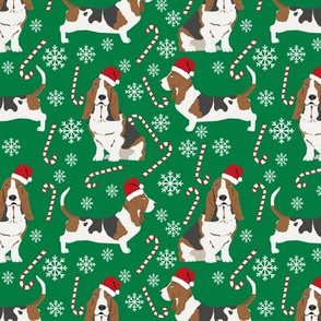 Basset Hound peppermint stick candy canes winter snowflakes dog fabric green